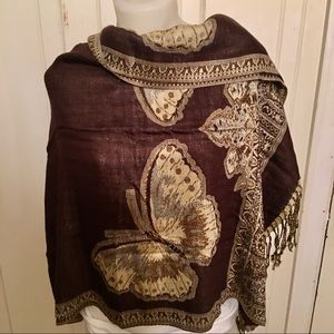 Butterfly Scarf - 27 x 66 brown /gold, rayon blend